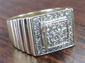 DIAMOND CLUSTER 0.42 TCW RING REAL 14K GOLD 9.3g MENS 13mm SZ 11.5